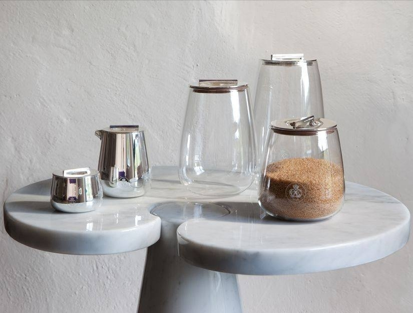 Silver plated cream pitcher, sugar bowl and jars SILVER TIME - designer JEAN-MARIE MASSAUD